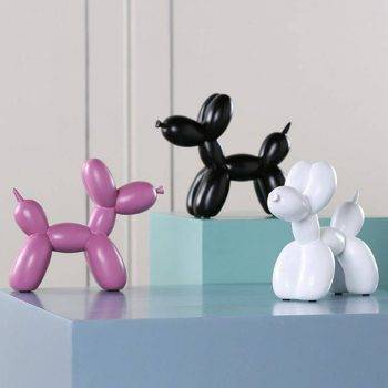 Modern Black/White/Red/Pink Resin Balloon Dog Statue - Sculpture Of Animal 5