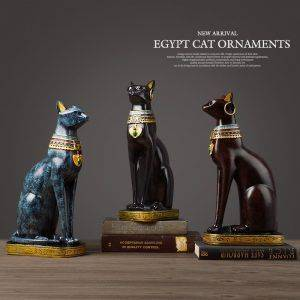 Vintage Black/Blue/Red Egyptian Resin Cat Statue – Art Deco Sculpture