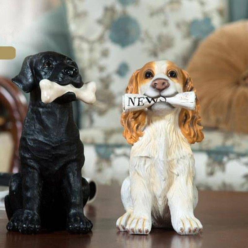 Vintage Resin Dog Statue For Home – Sculpture Of Animal