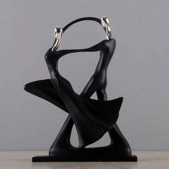 Modern Black Resin Abstract Statues - Art Deco Sculpture For Home 3