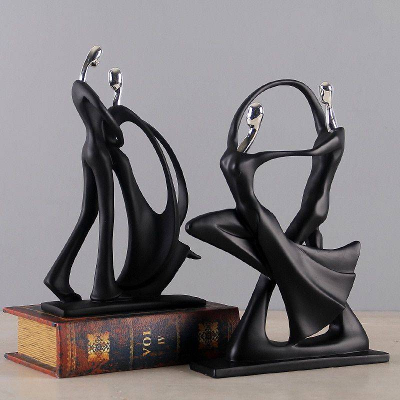 Modern Black Resin Abstract Statues – Art Deco Sculpture For Home