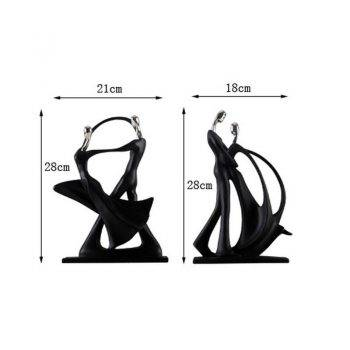 Modern Black Resin Abstract Statues - Art Deco Sculpture For Home 1