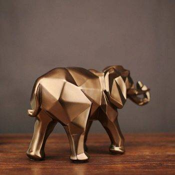 Abstract Gold Resin Elephant Statue For Home Decor - Sculpture Of Animal 3