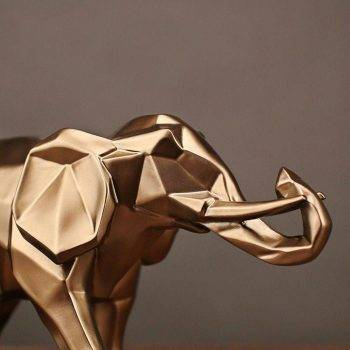Abstract Gold Resin Elephant Statue For Home Decor - Sculpture Of Animal 4