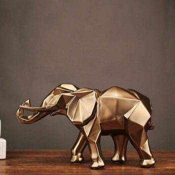 Abstract Gold Resin Elephant Statue For Home Decor - Sculpture Of Animal 1