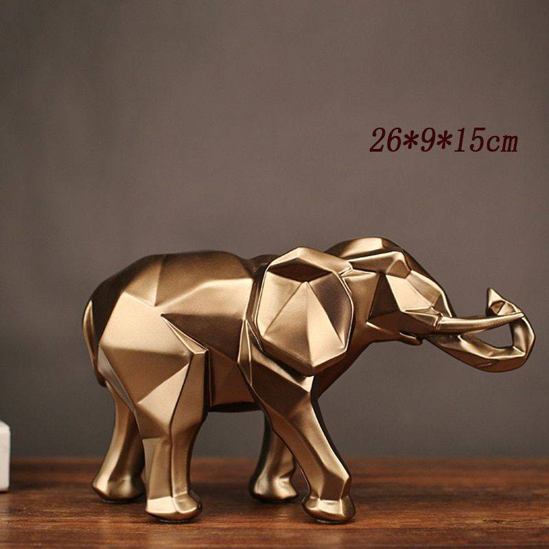 Abstract Gold Resin Elephant Statue For Home Decor – Sculpture Of Animal