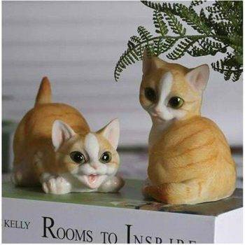 Lucky Resin Cat Statue Outdoor - Small Animal Statue 5