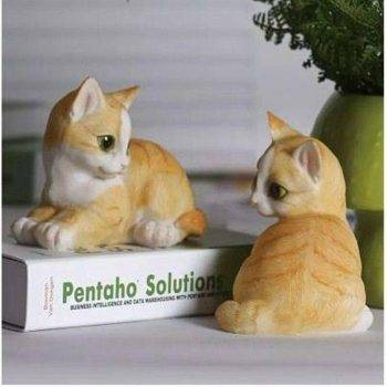 Lucky Resin Cat Statue Outdoor - Small Animal Statue 2
