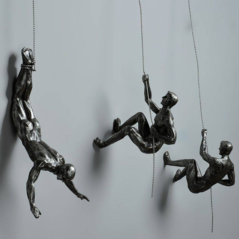 Abstract Resin Climbing Man Statue – Art Wall Sculpture