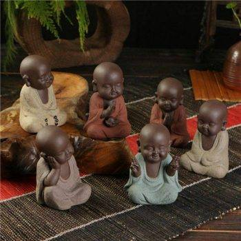 Small Ceramic Baby Monk Statue - Statue For Office Decor 1