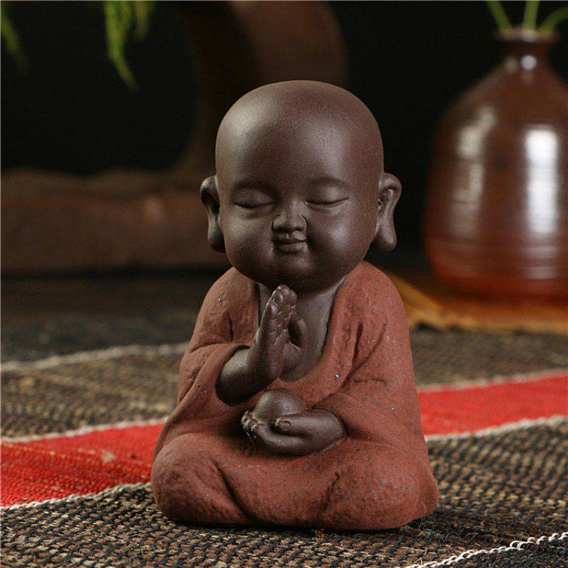 Small Ceramic Baby Monk Statue – Statue For Office Decor