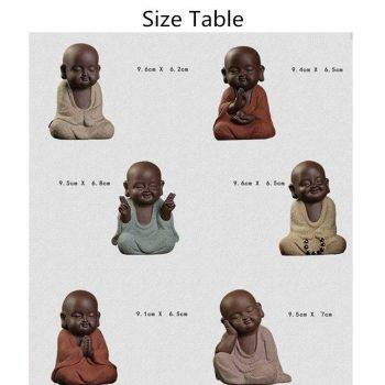 Small Ceramic Baby Monk Statue - Statue For Office Decor 3