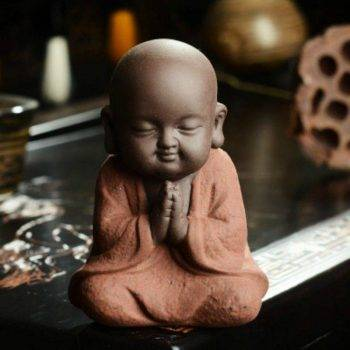 Small Ceramic Baby Monk Statue - Statue For Office Decor 4