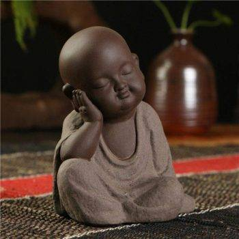 Small Ceramic Baby Monk Statue - Statue For Office Decor 5