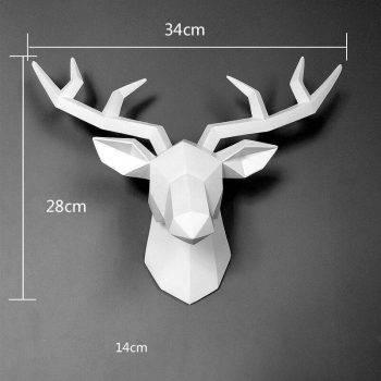 Abstract White/Black/Yellow/Pink Resin Deer Head Statue - Art Wall Sculpture 1