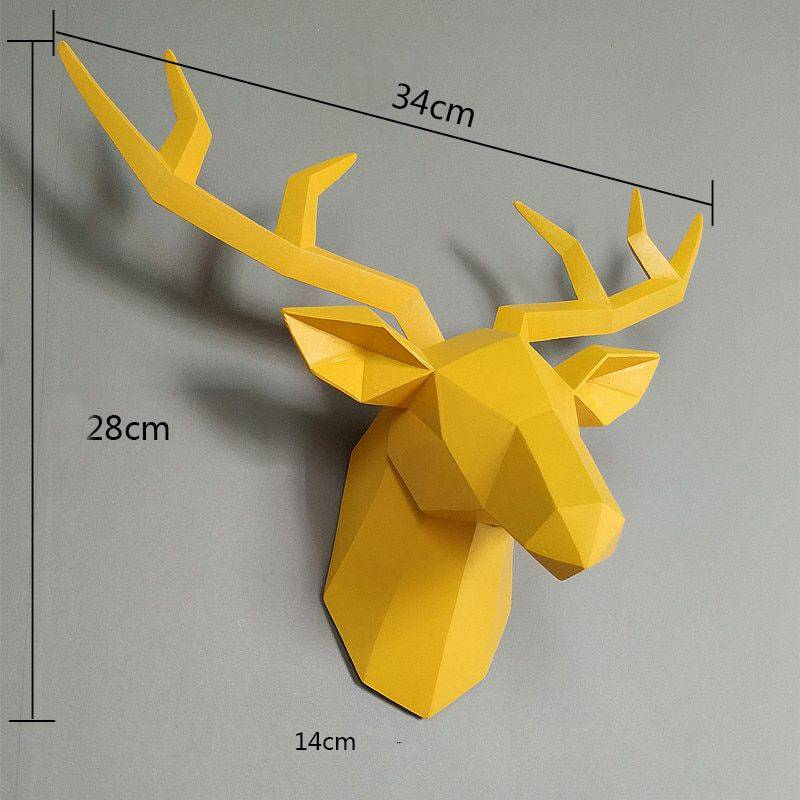 Abstract White/Black/Yellow/Pink Resin Deer Head Statue – Art Wall Sculpture