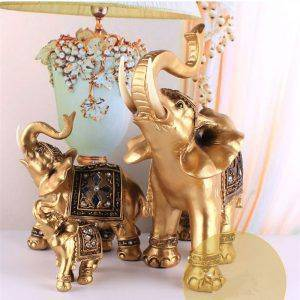 Lucky Golden Resin Elephant Statue For Living Room – Office Decor For Desk