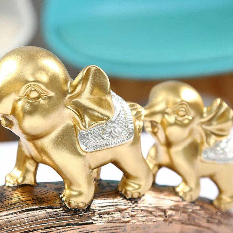 Three Golden Resin Elephant Statue For Good Luck – Art Of Sculpture
