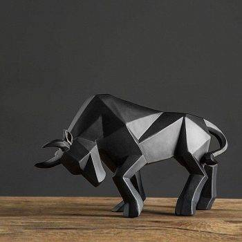 Abstract Black/Golden Resin Bull Origami Statue For Home Decor - Office Decoration Items 1