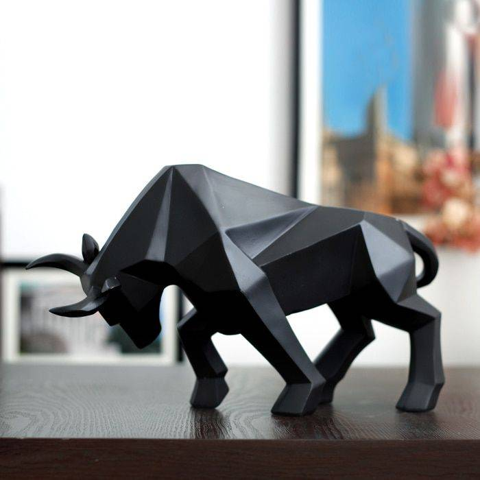 Abstract Black  Golden Resin Bull Origami Statue For Home