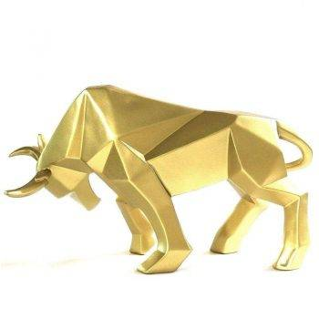 Abstract Black/Golden Resin Bull Origami Statue For Home Decor - Office Decoration Items 5