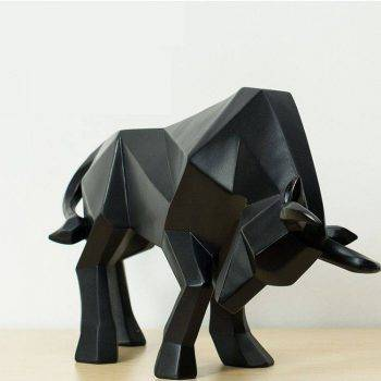 Abstract Black/Golden Resin Bull Origami Statue For Home Decor - Office Decoration Items 3