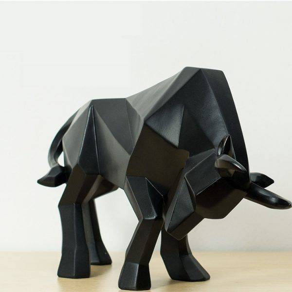 Abstract Black/Golden Resin Bull Origami Statue For Home Decor – Office Decoration Items