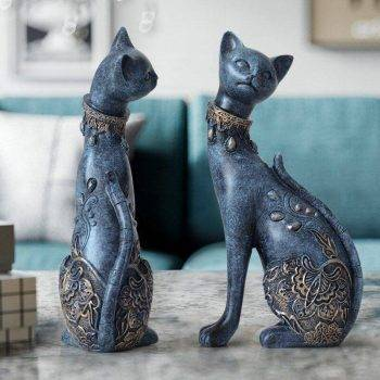 Lucky Blue/White Resin Cat Statues For Home Decor - Office Decor For Desk 4