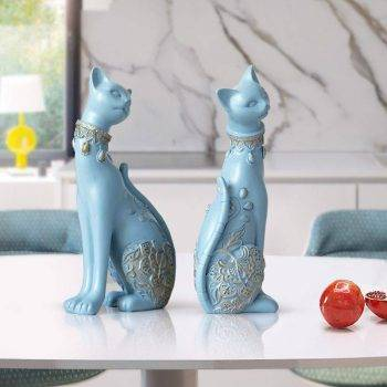 Lucky Blue/White Resin Cat Statues For Home Decor - Office Decor For Desk 6