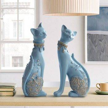 Lucky Blue/White Resin Cat Statues For Home Decor - Office Decor For Desk 5