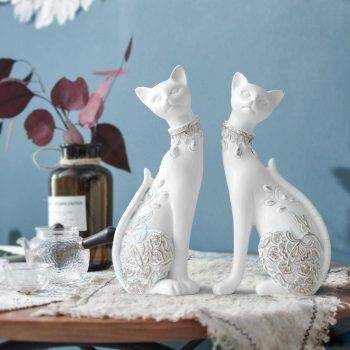 Lucky Blue/White Resin Cat Statues For Home Decor - Office Decor For Desk 2