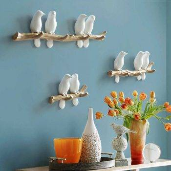 Lovely White/Blue/Pink Resin Bird Figurines For Wall Bedroom - Statue For Home Decor 3