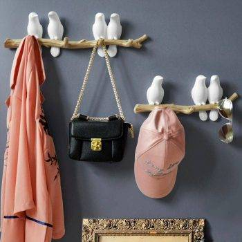 Lovely White/Blue/Pink Resin Bird Figurines For Wall Bedroom - Statue For Home Decor 1