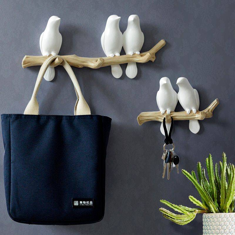 Lovely White/Blue/Pink Resin Bird Figurines For Wall Bedroom – Statue For Home Decor