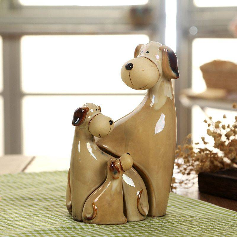 Brown Ceramic Dog Statue For Table Decor – Art Statues For Home
