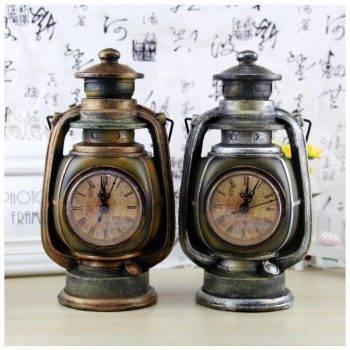 Vintage Resin Oil Lamp Sculpture With Clock For Beroom/Living Room Decor - Art Deco Sculpture 5