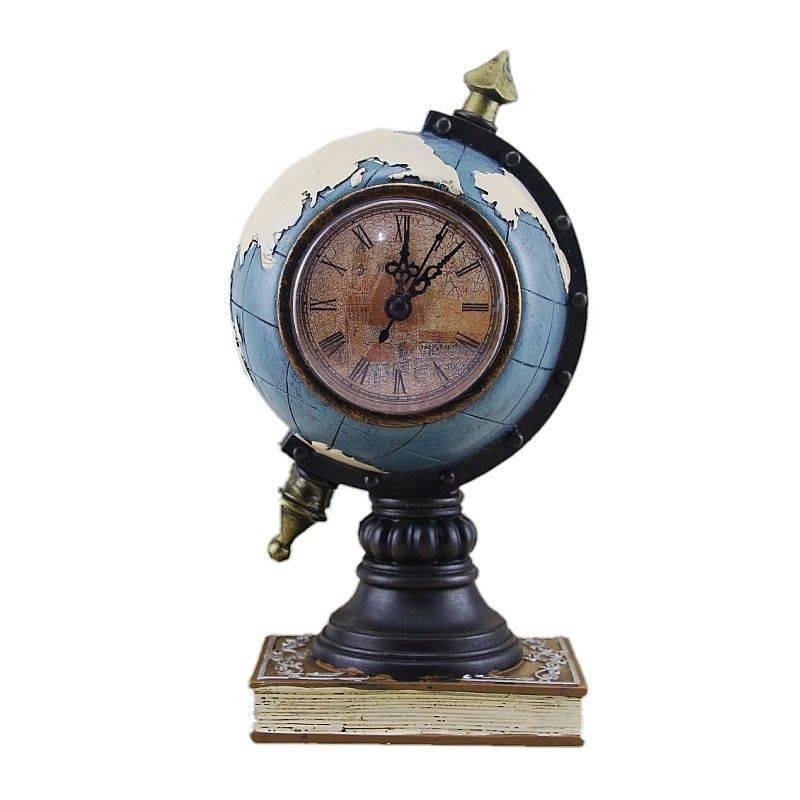 Vintage Blue/Green Resin Globe Sculpture With Clock For Beroom/Living Room Decor – Art Deco Sculpture