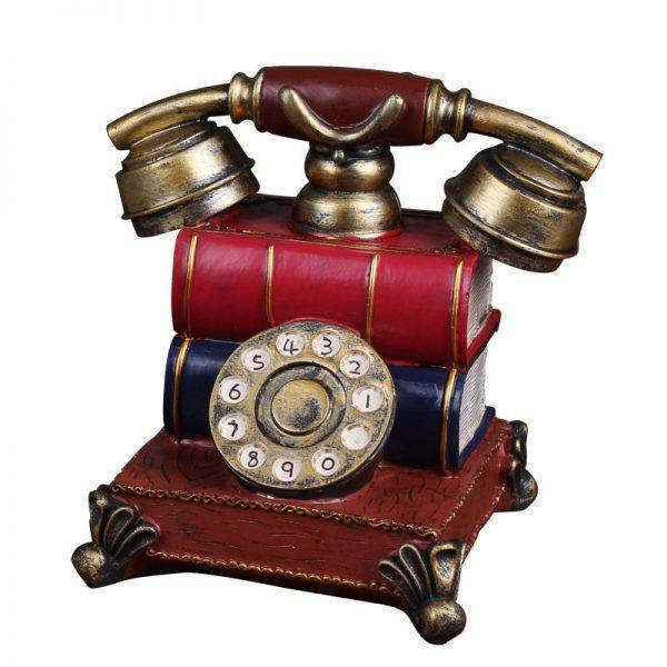 Antique Silver/Golden Resin Telephone Statue – Art Deco Sculpture
