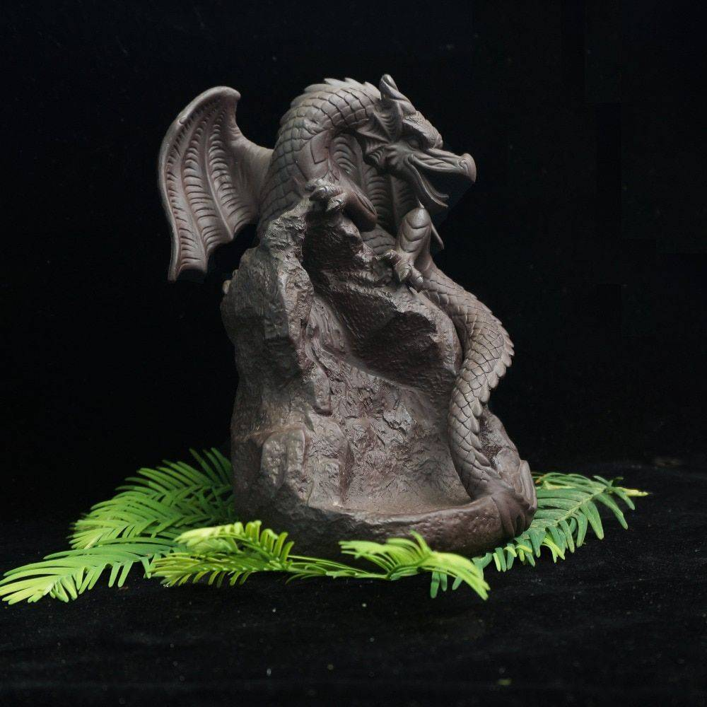 Brown Ceramic Flying Dragon Statue With Backflow Incense – Statue Decor For Living room