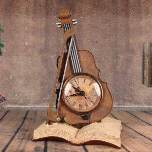 Vintage Resin Violin Clock Statuette For Office Decor – Art Deco Sculpture