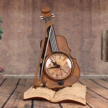 Decorative Clock For Office Decor - Resin - Violin Statuette, Art Deco Statue 1