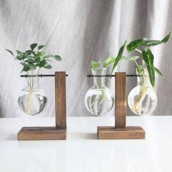 Glass Hanging Hydroponics Pot With Wooden Tray - Indoor Plants With Pot 4