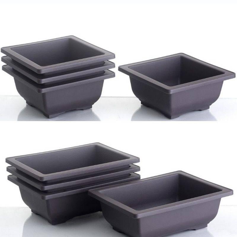 Rectangular/Square Brown Plastic Plant Pots For Bonsai/Cactus/Succulent – Flower Pot Decoration