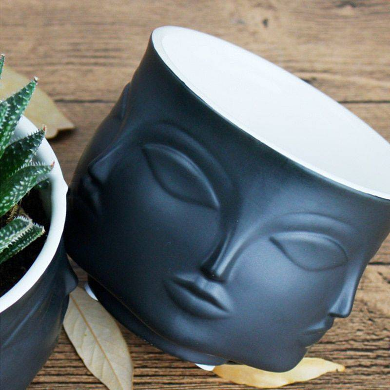 Black/White/Golden/Silver Nordic Ceramic Face Plant Pots – Small Flower Pot For Home Decor