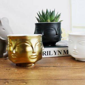 Black/White/Golden/Silver Nordic Ceramic Face Plant Pots – Small Flower Pot For Home Decor