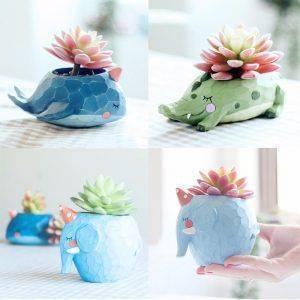Cute Small Resin Elephant/Crocodile/Whale Plant Pots – Animals Flower Pot