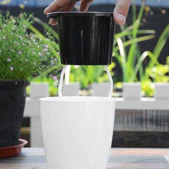 White Plastic Automatic Watering Plant Pots - Put In Floor Irrigation Gardening Flower Pots 4