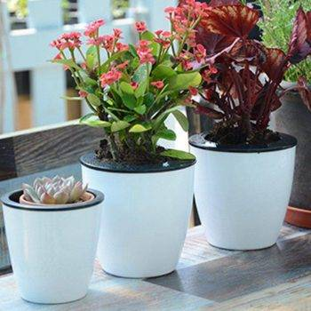 White Plastic Automatic Watering Plant Pots - Put In Floor Irrigation Gardening Flower Pots 1