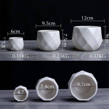 Small Octagon White Ceramic Plant Pots - Flower Pots For Bonsai/Cactus/Succulent 4