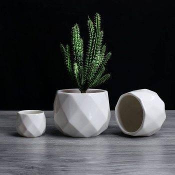 Small Octagon White Ceramic Plant Pots - Flower Pots For Bonsai/Cactus/Succulent 2